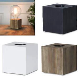 KubTisch Leuchte Holz E27 Fassung Sockel Deko Lese Lampe Würfel Cube Design