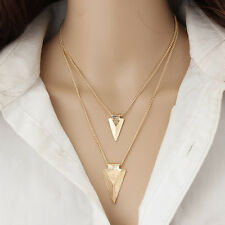 Gold Double Layers Triangle Drop Necklace Pendant Women Fashion Jewelry