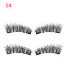 SKONED 4 Pcs Dual Magnetic False Eyelashes Reusable Lashes Glue-free Lashes