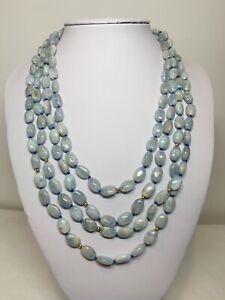 """Aquamarine Cabochon Beaded Necklace 18-20"""" 14K Yellow Gold  Polished Beads"""