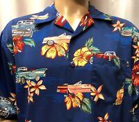 Hawaiian Shirt Mens Large Vintage Cars Thunderbird Corvette Ford Chevy Koman