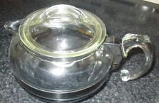 VTG Pyrex Stove Top 4 Cup tea kettle glass Pot flame BLACK METAL BAND