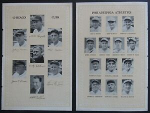 1929 World Series Lineup Page From Wrigley Field Program Philadelphia vs Chicago