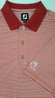 FootJoy FJ Men's XXL Striped Short Sleeve Golf Polo Shirt Red White 2XL