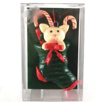 Vintage Enesco Christmas Ornament Kitty Cat in Stocking Candy Canes and Bow