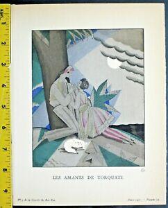 Gazette du bon ton,Art deco pochoir print,Ch.Martin,Les Amants de Torquate,1921