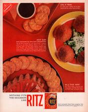 1963 C AD  RITZ CRACKERS TUNA CROQUETTES RECIPE RED PATE