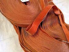 "5 Yrd Rust HANK FRENCH 5/8"" Antique Vintage Silk Rayon Satin Back Velvet Ribbon"