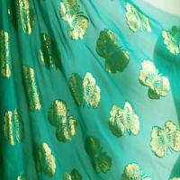 1 Yard Gold Butterfly Brocade Silk Material Metallic Jacquard Silk Georgette