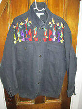 1980's Cello Black denim & beaded jacket Size Medium New Orleans Jazz Music