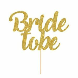 Bride to be cake topper. Bridal shower cake decor. Script party cake. Hen Party