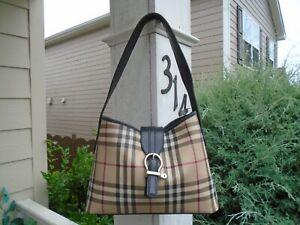 Authentic Burberry Nova Check signature plaid leather hobo shoulder bag