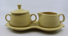 Fiestaware Homer Laughlin Creamer Sugar Bowl Lid Tray Yellow 3 Piece Set HLC USA