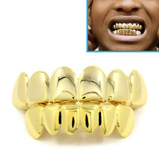 Placcato Oro Grillz 24k denti bocca Grills Superiore Inferiore Bling Hip Hop Gangster RAP
