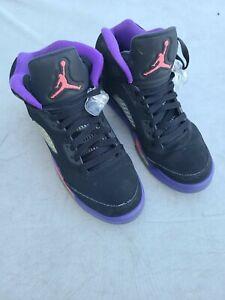 Nike Air Jordan 5 Retro GS Size 6.5y Raptors Black Fierce Purple 440892-017