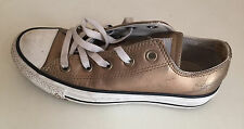Converse All Stars- Leather Metallic gold womens Trainers Size 3 UK .