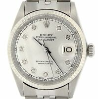 Rolex Datejust Mens Stainless Steel & 18K White Gold Watch Silver Diamond 1601