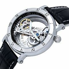 Steampunk Transparent Bridge Skeleton Men's Automatic Mechanical Wrist Watch New
