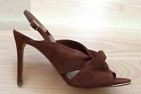 NEW BANANA REPUBLIC LEATHER SUEDE SANDALS BROWN SIZE 8.5 OPEN TOE HEELS SHOES