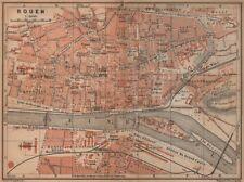 Rouen antique ville city plan de la ville. seine-maritime carte 1905 old map