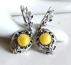 Silber Ohrringe mit butterscotch Bernstein - real amber silver earrings