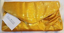Joan Rivers Gold Croc Embossed Envelope Style Clutch Bag