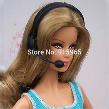 Black Music Headphone Microphone 1/6 Barbie gamer Dollhouse Miniature