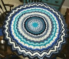 Handmade Crochet Granny Square Afghan Knitted Throw Round Blue Blanket 54 in