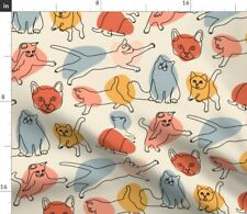 Cat Line Kitten Kitty Doodle Novelty Funny Pet Spoonflower Fabric by the Yard