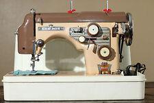Vintage Japanese De Luxe Milk Chocolate Beige Zig-Zag Heavy Duty Sewing Machine