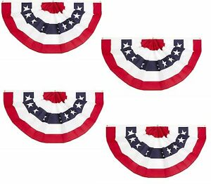 4 USA Flag Bunting Large Fan for 4th July Memorial Day Indoor Outdoor Decoration