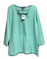 Chaps Womens Blue Top Size 2X Lace Up Tie Neck Long Sleeve Knit New