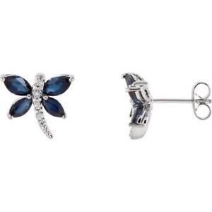 Dragonfly Sapphire Diamond Earrings Genuine 14K White Gold September Birthstone