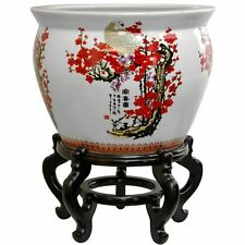 "Oriental Furniture 20"" Porcelain Fishbowl Cherry Blossom"