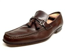 Sz. 9 SANTONI Brown Tassel Bit Loafers Made In ITALY