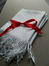 "Two vintage Irish linen damask kitchen towels with fringed ends. 21"" x 32"""