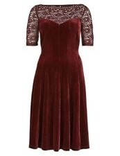 BNWT M&S Collection velour&lace Fit & Flare Skater Burgundy Red dress size 8 £50