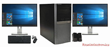 "Dell Desktop Optiplex 960 Windows 10 Pro Dual Core 8GB 1TB 17"" Dual Monitor"