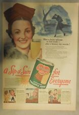 Del Monte Pineapple Juice Ad: What A Cheery Welcome ! 1940's 11 x 15 inches