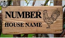 Rustic Chicken House Gate Sign Plaque Door Number Personalised Name Plate Chick