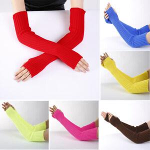 Womens Gloves Arm Warmer Cashmere Knitted Soft Long Fingerless Gloves Mitten US