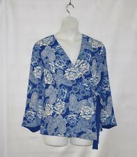 Linea by Louis Dell'Olio Faux Wrap Printed Top Size 1X Blue/Alabaster