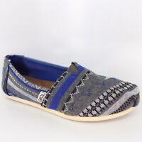 TOMS Classic Tribal Jersey Canvas Blue Women's Shoes Size 5.5 EU 36 AL5089