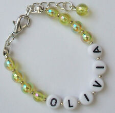 Personalised Acrylic Bead Bracelet Any Name and/or Numbers & Colour