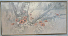 ROBERT LAESSIG VINTAGE 1970'S FRAMED ACRYLIC PAINTING POPPIES AND DAISIES