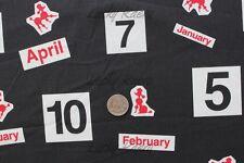 SALE Yuwa Kumiko Fujita Months Numbers Poodle Black Japanese Fabric Half Yard