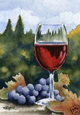 "Wine Glass ""VINO"" Giclee 5 x 7 Art Print on W/C Paper by Artist DJR"