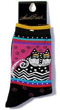"Laurel Burch Cat Socks ""Polka Dot Cat"" Purple/Black Socks"