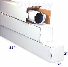 50- 25x2x2 Long White Corrugated Cardboard Packaging Shipping Tubes Box Boxes