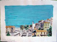 Acquerello '900 su carta Watercolor DOPPIO-Veduta Città e Casa di campagna (96)